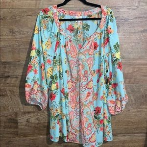 Light blue floral 3x tunic Fig & Flower